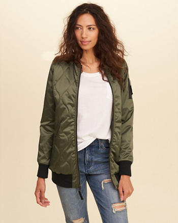 Quilted Longline Bomber Jacket