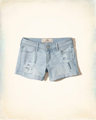 Low-Rise Denim Midi Shorts