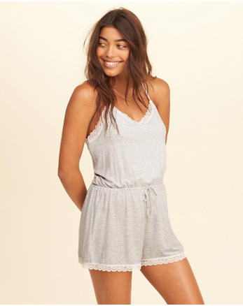 hol Lace-Trim Knit Romper