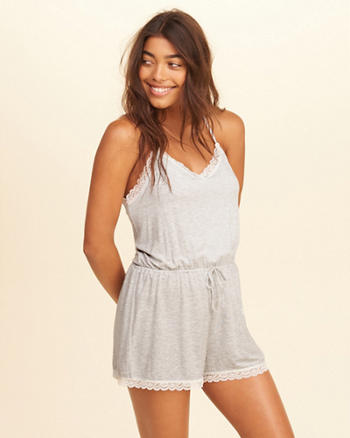 Lace-Trim Knit Romper