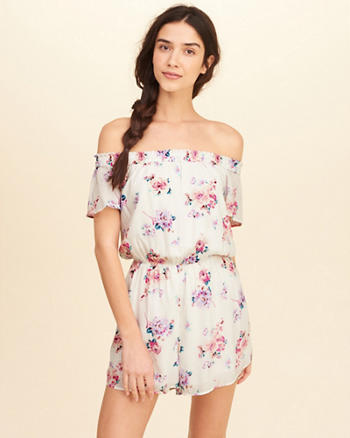 Off-The-Shoulder Woven Romper