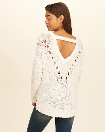Oversized Open Back Sweater