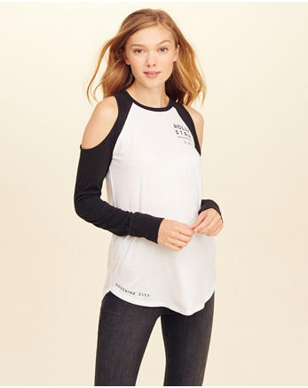 hol Cold Shoulder Graphic Tee