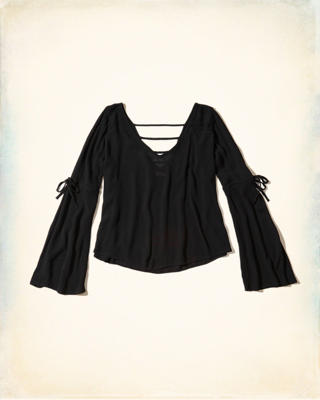 Bell-Sleeve Woven Top