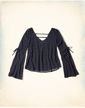 hol Bell-Sleeve Woven Top
