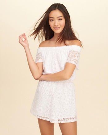Off-The-Shoulder Lace Romper