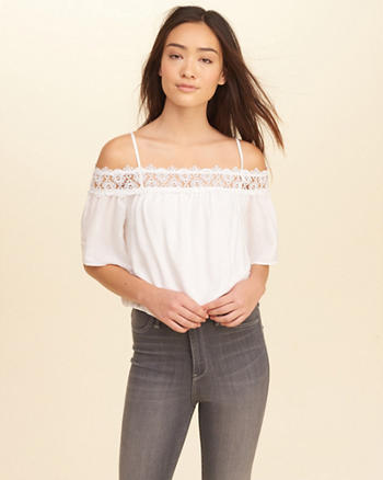 Lace-Trim Cold Shoulder Top