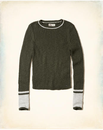 Slim Crop Crewneck Sweater