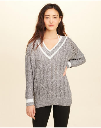 hol Oversized V-Neck Sweater