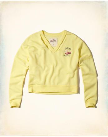 hol Cutout V-Neck Crop Sweatshirt