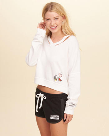 Cutout V-Neck Crop Sweatshirt