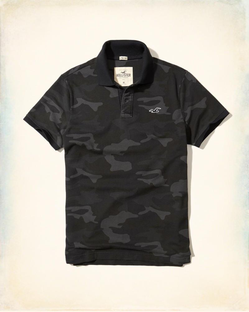 Black t shirts hollister - Stretch Pique Camo Polo