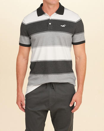 Stretch Pique Stripe Polo