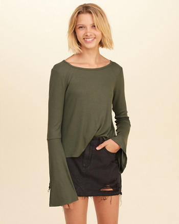 Open Back Bell-Sleeve Top