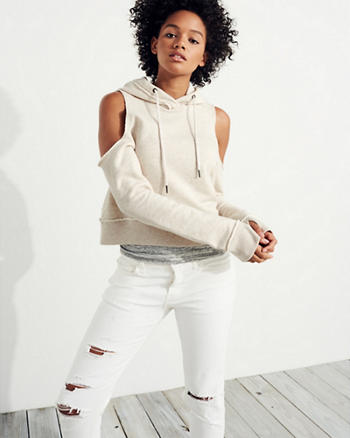 Cold Shoulder Crop Hoodie