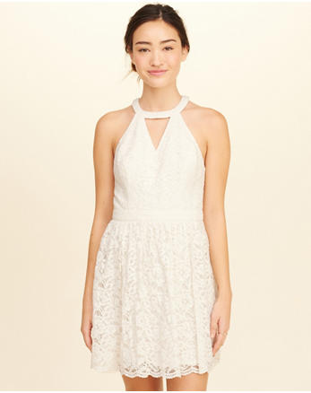 hol High-Neck Lace Skater Dress