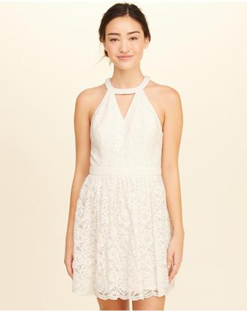 hol High-Neck Lace Skater Dress