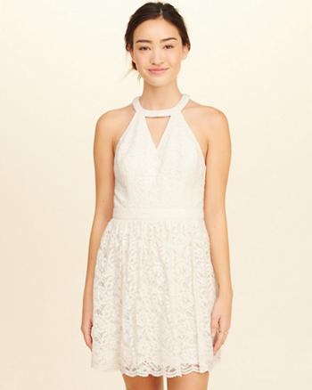 High-Neck Lace Skater Dress