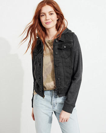 Sherpa-Lined Hooded Denim Jacket