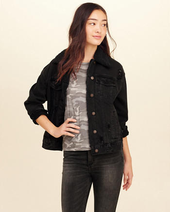 Sherpa-Lined Oversized Denim Jacket