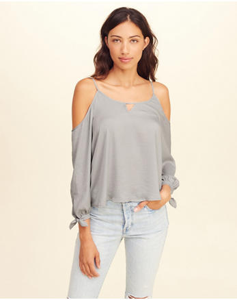 hol Tie-Sleeve Cold Shoulder Top