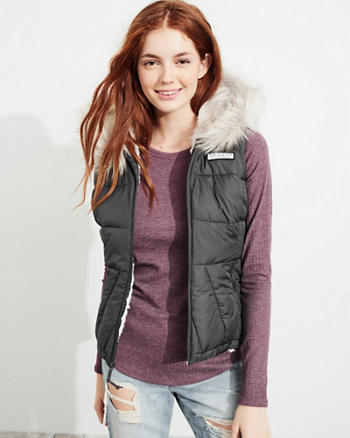 Sherpa-Lined Hooded Puffer Vest