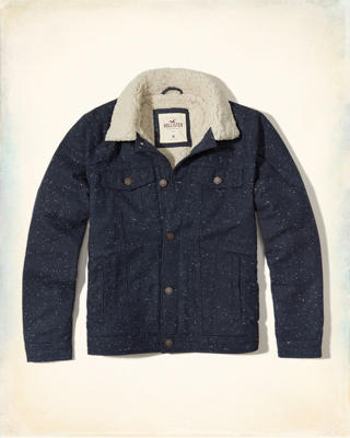 Sherpa-Lined Twill Trucker Jacket