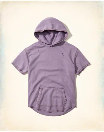 hol Distressed Short-Sleeve Hoodie