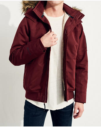 hol Hollister All-Weather Sherpa-Lined Bomber Jacket