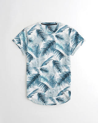Patterned Curved Hem T-Shirt