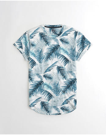 hol Patterned Curved Hem T-Shirt