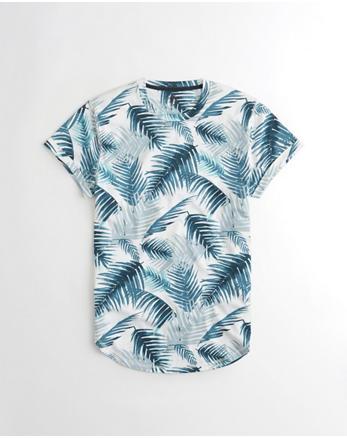 hol Patterned Curved Hem T-Shirt