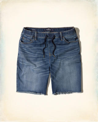 Denim Cutoff Jogger Shorts