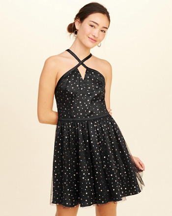 Star Satin Skater Dress