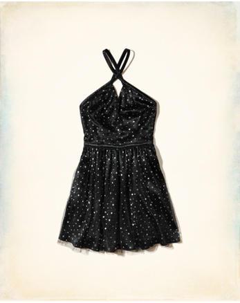 hol Star Satin Skater Dress