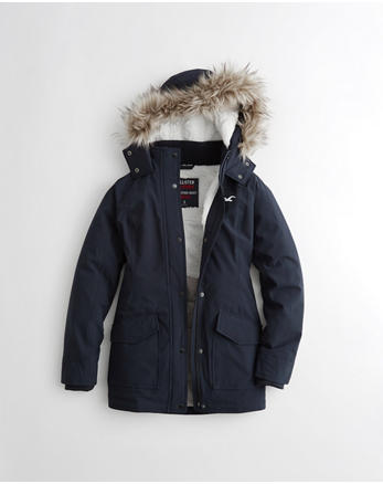 hol Hollister All-Weather Stretch Sherpa-Lined Parka