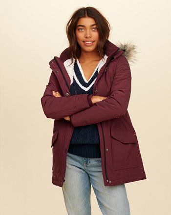 Hollister All-Weather Stretch Sherpa-Lined Parka