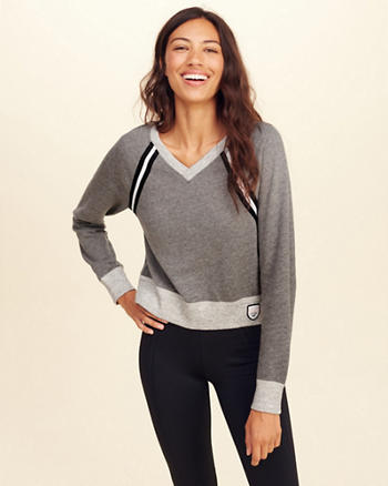 V-Neck Crop Sweatshirt