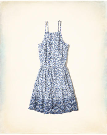 hol Lace-Up Woven Skater Dress
