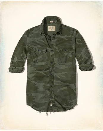 Distressed Camo Twill Shirt