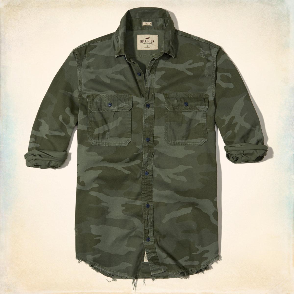 Distressed Camo Twill Shirt