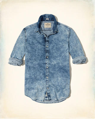 Bleach Wash Denim Shirt