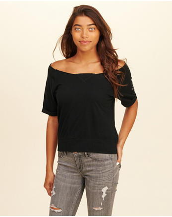hol Off-The-Shoulder Graphic Tee