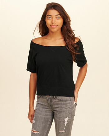 Off-The-Shoulder Graphic Tee