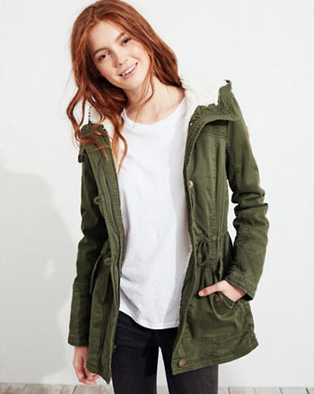 Stretch Twill Sherpa-Lined Parka