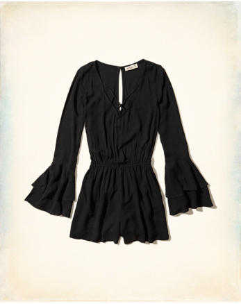 hol Strappy Ruffle-Sleeve Romper