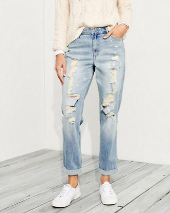Stretch High-Rise Crop Slim Boyfriend Jeans