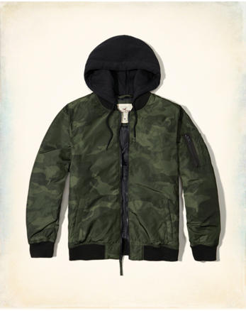 hol Camo Hooded Bomber Jacket