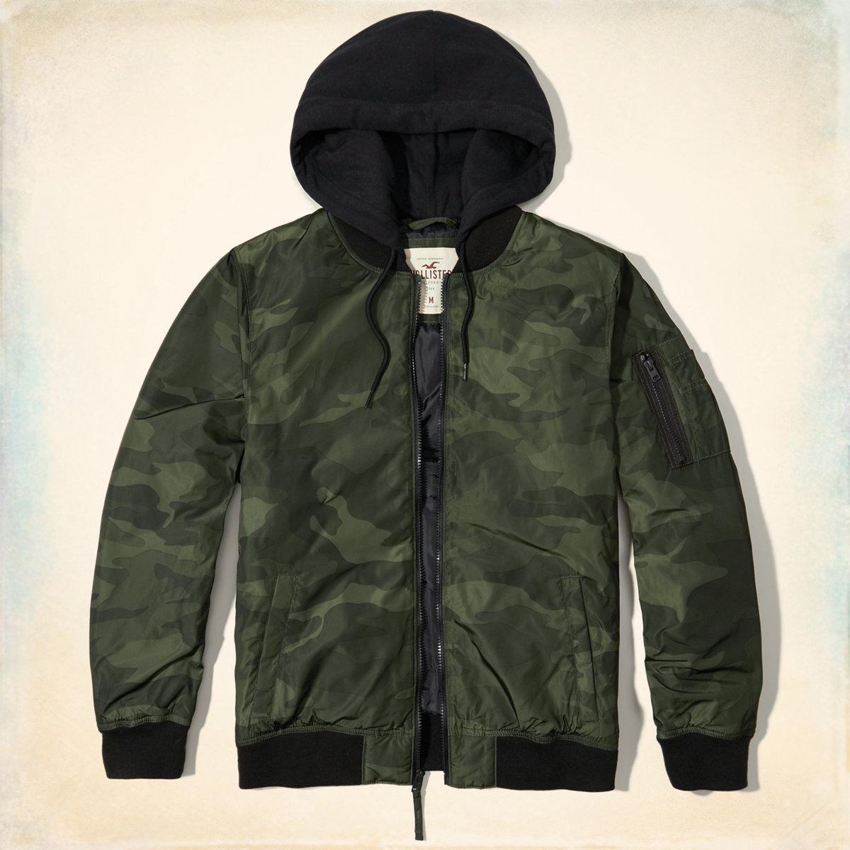 Camo Hooded Bomber Jacket