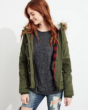 Stretch Flannel-Lined Anorak Jacket